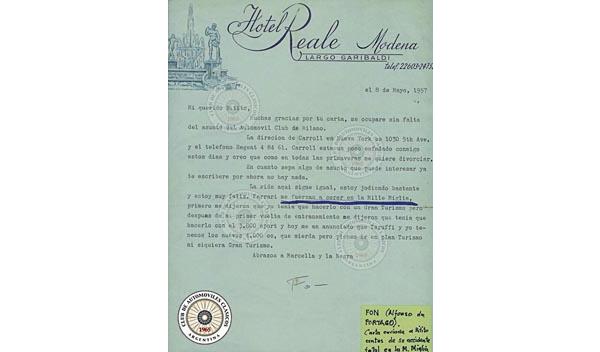 Alfonso envió esta carta a su amigo y piloto argentino, Roberto (Bitito) Mieres.