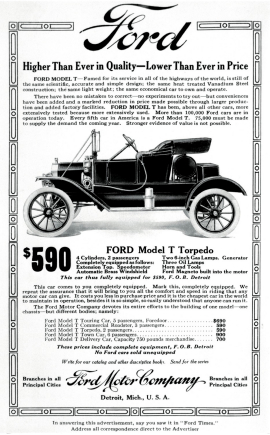 Publicidad con los precios del Ford T
