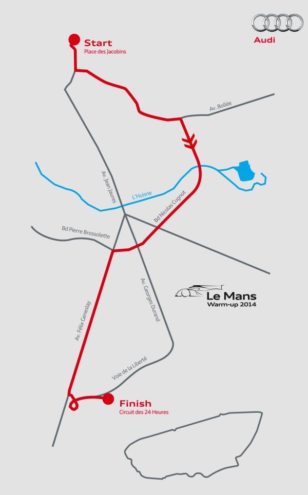 Recorrido warm up Audi R-18 Le Mans 2014