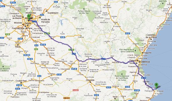 mapa madrid valencia