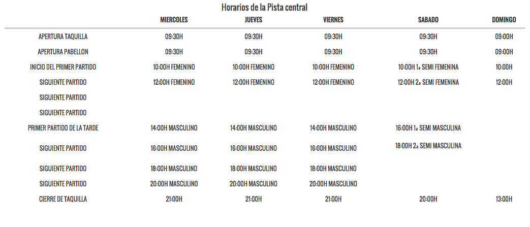 horarios master world padel tour madrid 2015