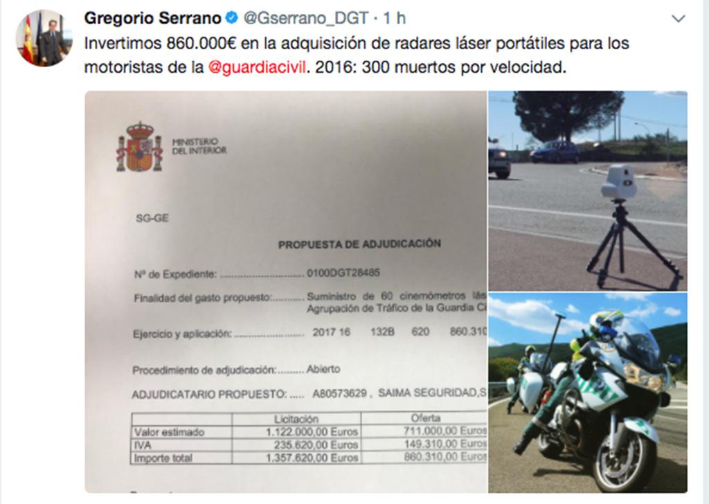 DGT compra radares para motos