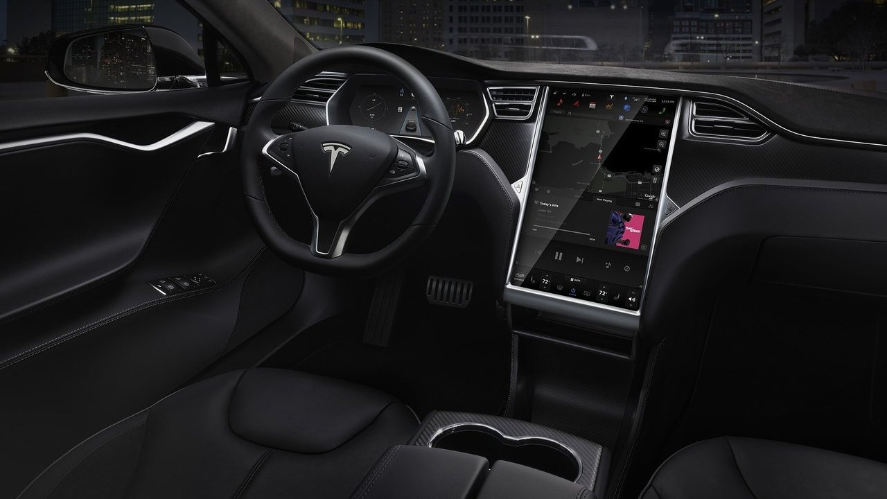 as es el interior del tesla model s coche el ctrico. Black Bedroom Furniture Sets. Home Design Ideas