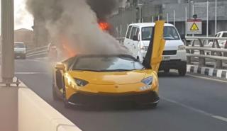 Otro Lamborghini Aventador que es pasto de las llamas