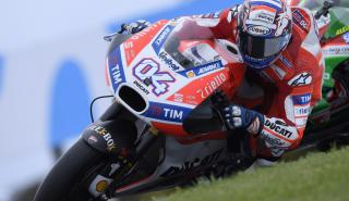 Andrea Dovizioso, sufriendo las carencias de la Ducati en Phillip Island