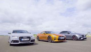 nissan gt-r vs mercedes-amg e63 s vs audi rs 7 performance