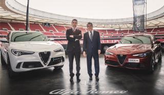 Los jugadores del Atlético de Madrid prueban el nuevo Alfa Romeo Stelvio Q en el Wanda