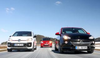 Smart Brabus forfour vs Opel Adam S y Volkswagen Up GTI
