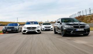 BMW M5 vs Cadillac CTS-V,Mercedes-AMG E 63 SyPorsche PanameraTurbo