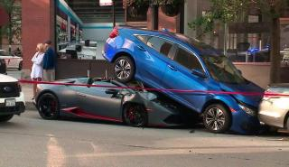 Un Lamborghini Huracan Spyder choca contra un Hinda Civic