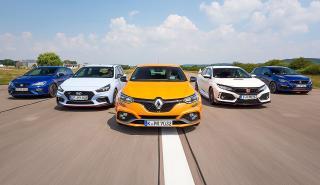 Renault Mégane R.S. vs Honda Civic Type R, Hyundai i30 N, Peugeot 308 GTi y Seat Leon Cupra