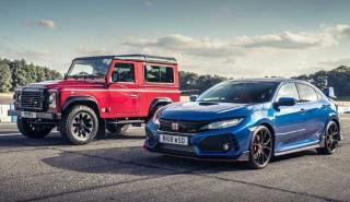 Honda Civic Type R vs Land Rover Defender Works V8
