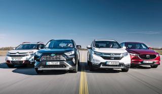 Toyota RAV4, Honda CR-V, Citroën C5 Aircross, y Mazda CX-5