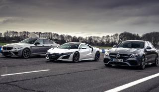 Honda NSX contra BMW M5 Competition y Mercedes AMG E 63 S