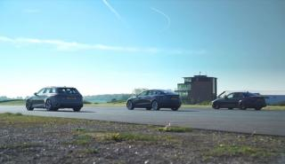 Audi RS 4 Avant vs BMW M3 vs Tesla Model 3 Performance