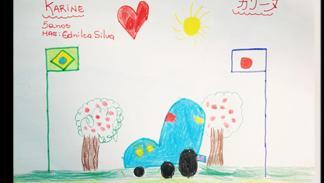 dibujo infantil prototipo Nissan seis ruedas boceto