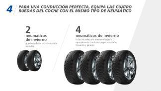cuatro neumáticos del mismo tipo