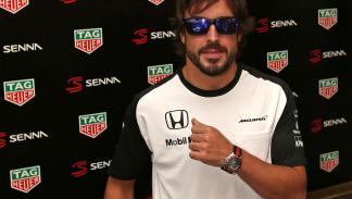 Fernando Alonso luce uno de los cuatro relojes de Tag Heuer