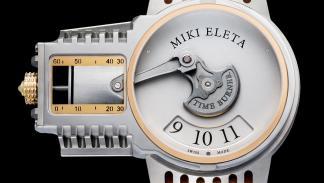 Reloj Timeburner by Miki Eleta en plata y cuero marrón