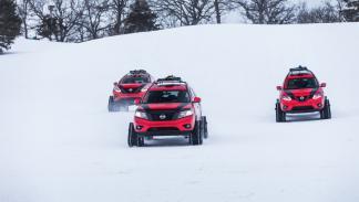 Nissan Rogue, el Nissan Pathfinder y el Nissan Murano sobre nieve