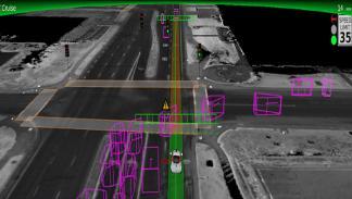 Así ve el coche autónomo de Google intersección