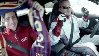 plantilla del Barça se sube al Audi RS7 que conduce solo 4