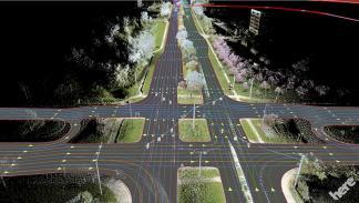 aérea de los mapas de Here en 3 dimensiones