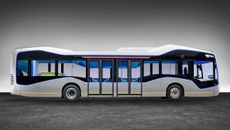 autobús autónomo de Mercedes lateral
