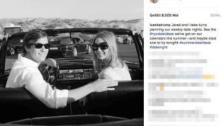 La hija Ivanka y su marido, Jared Kushner, en un Mercedes descapotable de los añ