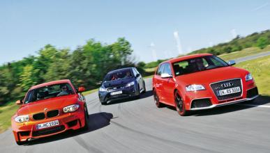 Audi-RS3-BMW-Serie-1-M-Coupe-Ford-Focus-RS-delantera