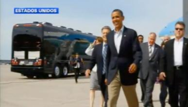 Obama estrena el 'Bus Force One'
