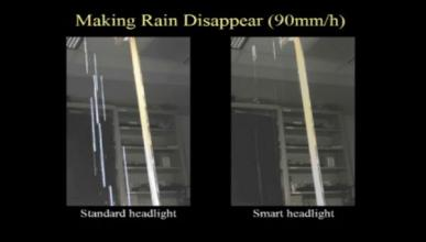 Un faro para el coche que oculta la lluvia al conducir