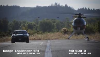 Helicóptero vs Dodge Challenger, ¿cuál es más rápido?