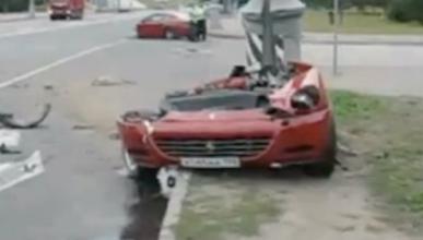 Un Ferrari 612 Scaglietti partido en dos tras un accidente