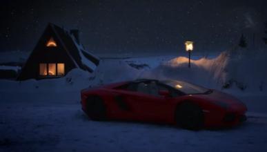 Papa Noel cambia su trineo por un Lamborghini