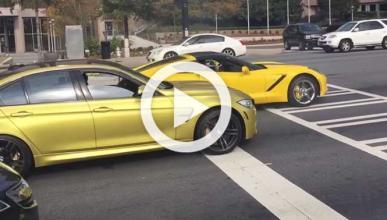 Este Corvette intenta ganar a un BMW M3 y casi se estrella