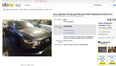 El Audi RS6 siniestrado de Beckham, a la venta en eBay