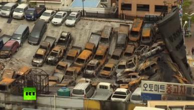 Menuda masacre: 600 coches carbonizados en un incendio