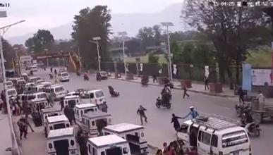 Una cámara graba el terremoto de Nepal que corta el tráfico