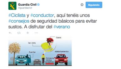 Consejos de la guardia civil para ciclistas y conductores