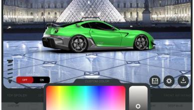 Gran selección de piezas y colores en el juego 3D Tuning