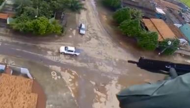 Persecución en Brasil: ¡a tiros desde un helicóptero!