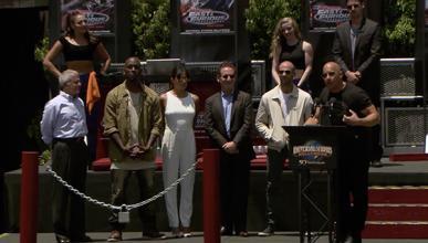 Los protagonistas de 'A todo gas' en la presentación de la nueva atracción