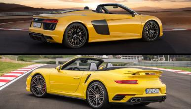 ¿Cuál es mejor, Audi R8 Spyder 2016 o Porsche 911 Cabrio?