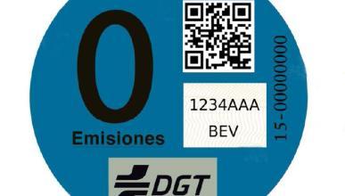 Etiqueta azul para los coches eléctricos