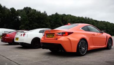 BMW M4, Lexus RC-F y Nissan GT-R en una aceleración brutal