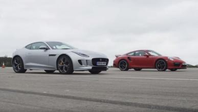 Drag Race: Jaguar F-Type R vs Porsche 911 Turbo S