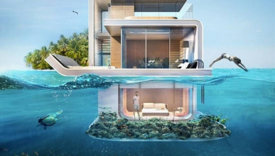 Casas flotantes de Dubai. Foto: THE FLOATING SEAHORSE TZAR EDITION.