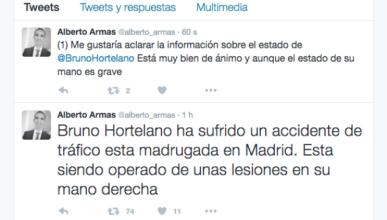 Herido Bruno Hortelano en un accidente de tráfico