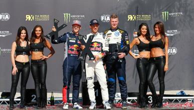 Mattias Ekstrom, Timi Hansen y Timur Timerzyanov, en el podio del RX de Barcelon